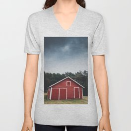 Red Barn and Gray Sky Unisex V-Neck