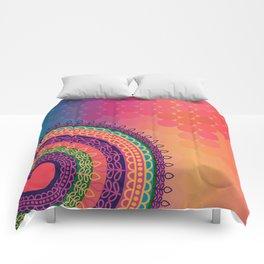 Ethnic Mandala on geometric pattern Comforters