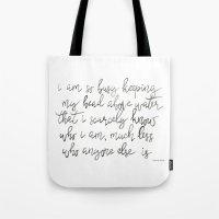 sylvia plath Tote Bags featuring Sylvia Plath by Ren Davis