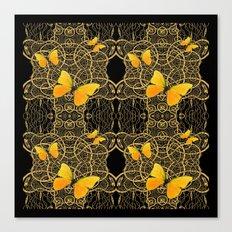 Yellow Mariposas (Butterfly) Celtic Gold & black Art Canvas Print