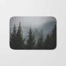 Wanderlust Forest III - Mountain Adventure in Foggy Woods Bath Mat