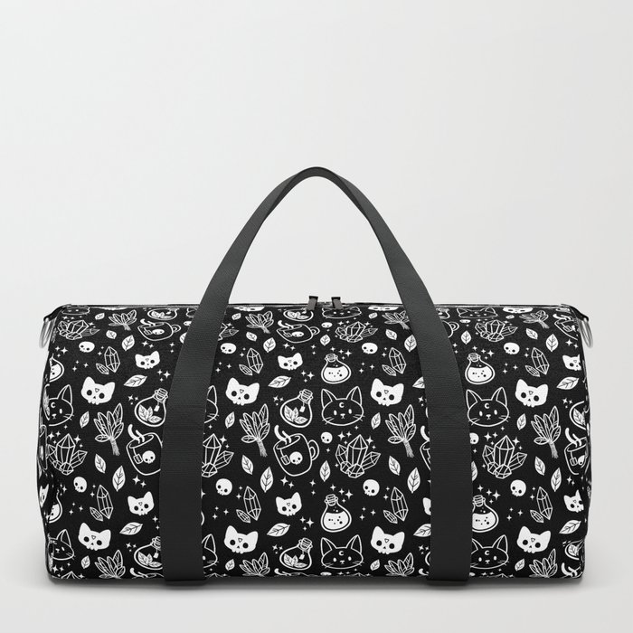 Herb Witch // Black & White Duffle Bag