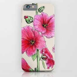 Botanical illustration of mallow iPhone Case