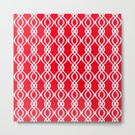 Red and white curved lines Metal Print