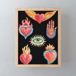 Mexican style watercolor poster mystical symbols. Calavera. Framed Mini Art Print