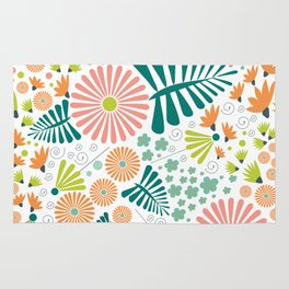 Whimsical flowers - pink, white and green Rug