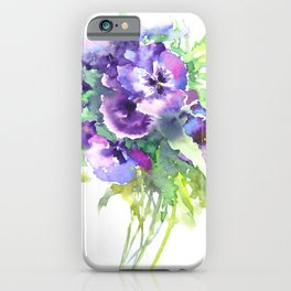 Pansy, flowers, violet flowers, gift for woman design floral vintage style iPhone Case