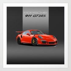 2016 Porsche 911 GT3 RS in Lava Orange Art Print