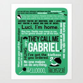 Supernatural - Gabriel Quotes Art Print