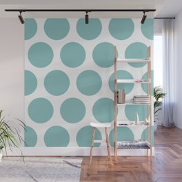 Chalky Blue Large Polka Dots Wall Mural