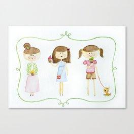 3 little girls Canvas Print
