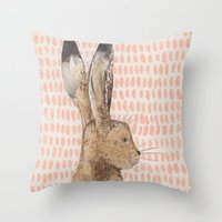 hare Throw Pillows featuring Hare by stephanie cole DESIGN