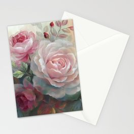 Vintage Oil Painting of Pearl Coor Rose Stationery Cards
