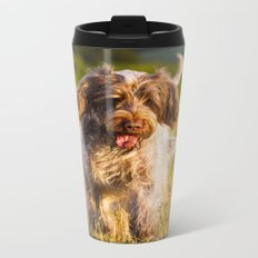 Brown Roan Italian Spinone Dog in Action Metal Travel Mug