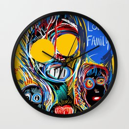A Happy Loving Family Street Art Graffiti Wall Clock