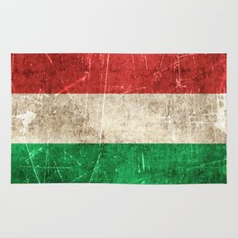 Vintage Aged and Scratched Hungarian Flag Rug