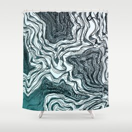 Ink River - Grey Blue edition Shower Curtain