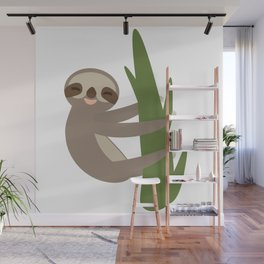 Three-toed sloth on green branch on white background Wall Mural