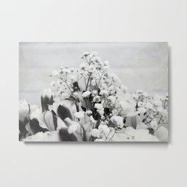 Baby's breath - white monochrome flowers Metal Print