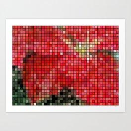 Mottled Red Poinsettia 1 Ephemeral Mosaic Art Print