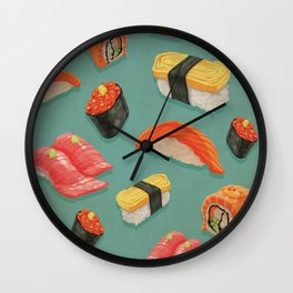 Kitschy Sushi Pattern On Teal Background - Tuna California Roll, Sashimi Wall Clock