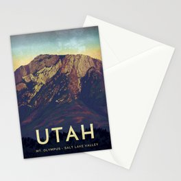 Utah Mountains Travel Poster Stationery Cards