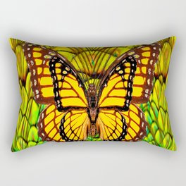 FANTASY YELLOW MONARCH BUTTERFLY LIME COLOR Rectangular Pillow