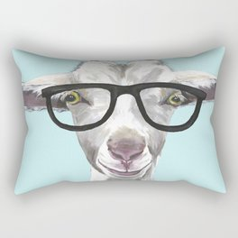 Goat with Glasses, Cute Farm Animal Rectangular Pillow