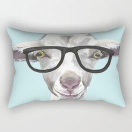 Goat with Glasses, Cute Farm Animal Rectangular Pillow