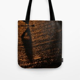 Silhouette of a windsurfer Tote Bag