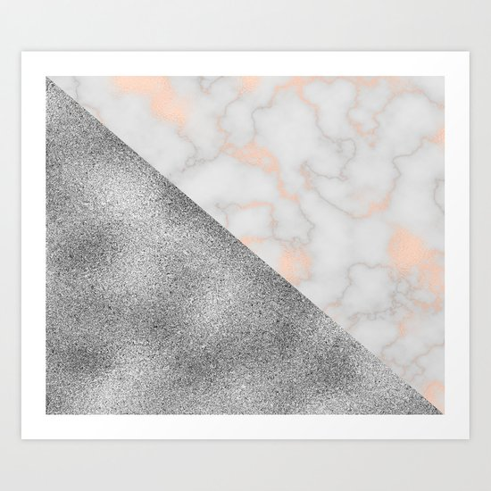 Rose gold marble and silver glitter Art Print