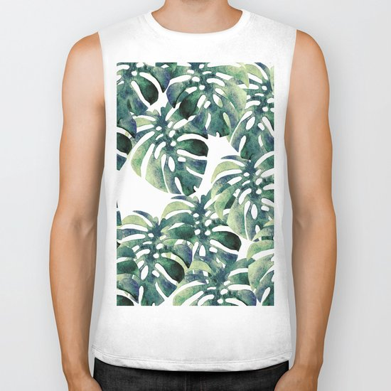 Monstera Pattern Biker Tank