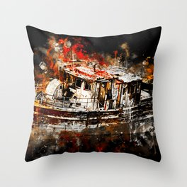 old ship boat wreck ws std Throw Pillow