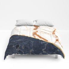 Classy Elegant White Blue Gold Marble Comforters