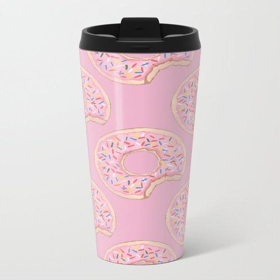 Pink Donut Metal Travel Mug