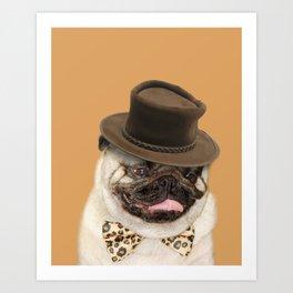 Dog pug with hat Art Print