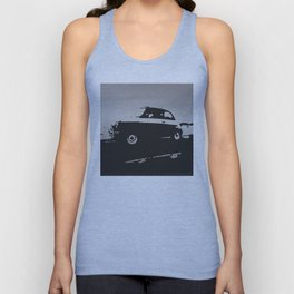 Fiat 500 classic, Gray on Black Unisex Tank Top