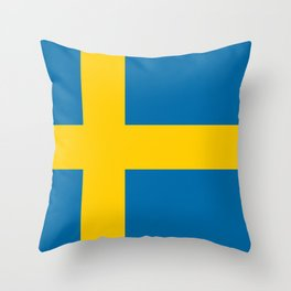 Swedish Flag - Authentic HQ Throw Pillow