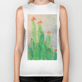 Cactus garden with orange flowers Biker Tank