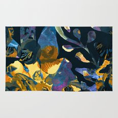 blue abstract floral Rug