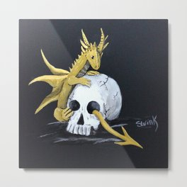 Gold Dragon & Skull Metal Print