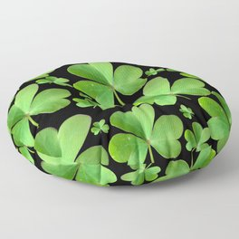 Clovers on Black Floor Pillow