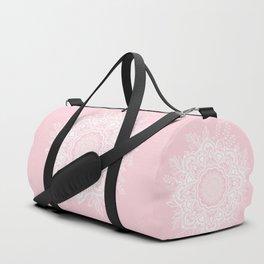 Mandala Bohemian Summer Blush Millennial Pink Floral illustration Duffle Bag