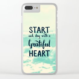 Start each day with a grateful heart Text on sea photo Clear iPhone Case