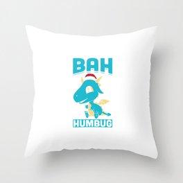 Bah Humbug Dragon Santa Hat Funny Grumpy Scrooge Humor Pun Cool Gift Design Throw Pillow