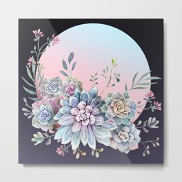 Succulent full moon Metal Print