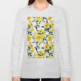 Hand painted modern yellow green watercolor floral Long Sleeve T-shirt