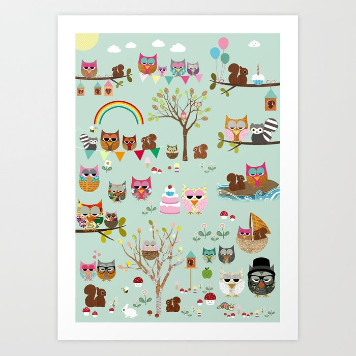 Cute Owl Party Collage Nursery Wall Art Kids Decor Print