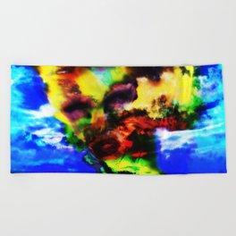 """Girl Built of Sky"" by surrealpete Beach Towel"