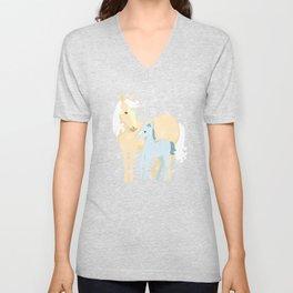 Unicorns. Mom and baby Unisex V-Neck